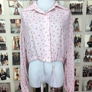Brandy melville pink floral lenny blouse top